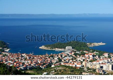 Coastline of Dalmatia with beautiful blue sea. - stock photo
