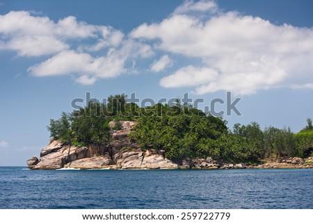 Coastline of Mahe island, Seychelles. Horizontal shot - stock photo