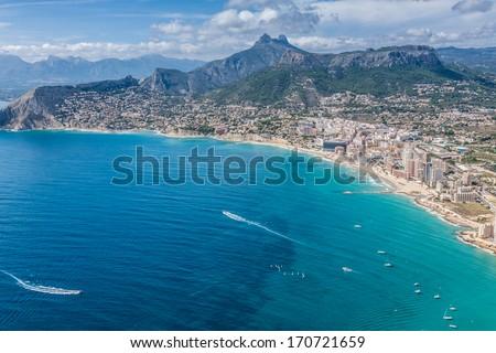 Coastline of Mediterranean Resort Calpe, Spain with Sea and Lake - stock photo