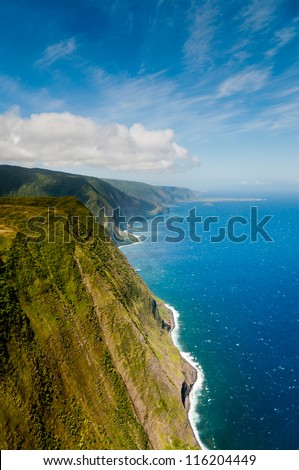 Coastline of Molokaii island viewed from helicopter - stock photo