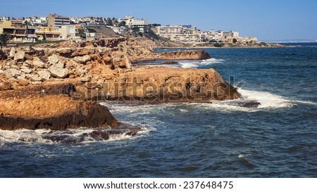 Coastline of popular Mediterranean summer resort Torrevieja in Alicante, Spain - stock photo
