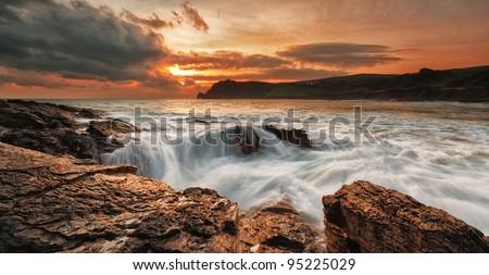 Coastline of Prawle Point, Kingsbridge, Devon, UK - stock photo