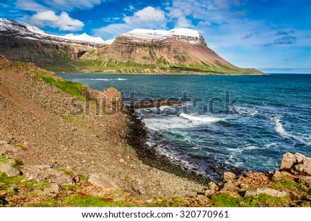 Coastline of the Arctic sea in Iceland