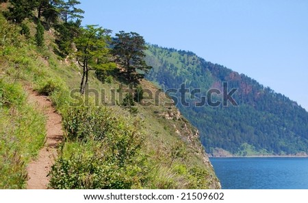 Coastline of the Baikal lake - stock photo