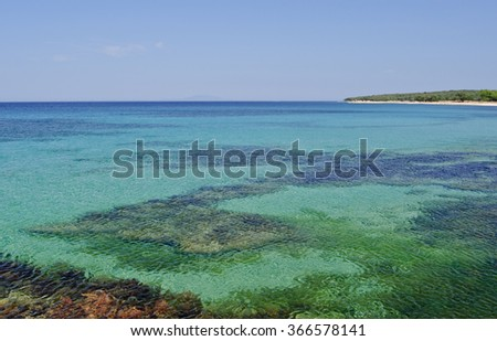 coastline of the island Pag in Croatia on a sunny day in summer