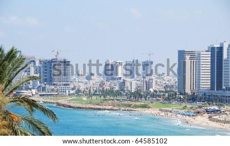 Coastline of the Mediterranean Sea, Tel Aviv, Israel. - stock photo