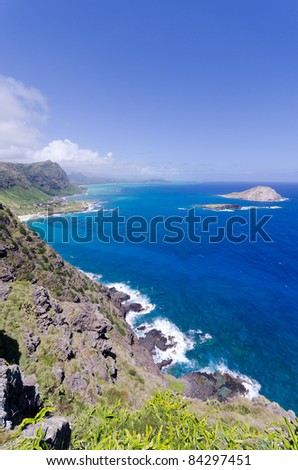 Coastline of Windward Coast on Oahu, Hawaii - stock photo