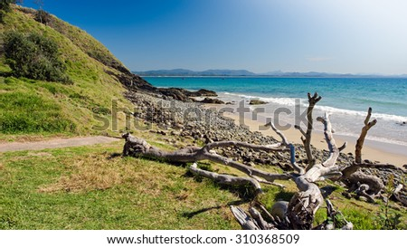 Coastline Paradise with Green Vegetation, Rocks, Sand, Ocean and Washed Up Trees Below The Cape Byron Lighthouse on a Beautiful Clear Blue Sky, Wategos Beach, Byron Bay, New South Wales, Australia - stock photo