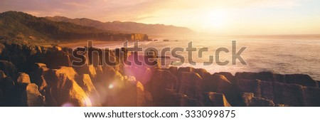 Coastline Punakaiki New Zealand Destination Concept - stock photo