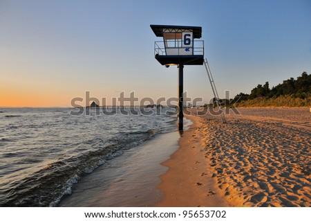 Coastline Sunrise at Island of Usedom (German Baltic Sea) - stock photo