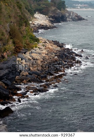 Coastline taken from cliff walk Rhode Island - stock photo