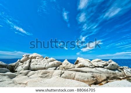 Coastline with dramatic sky, Elba island. Italy. - stock photo