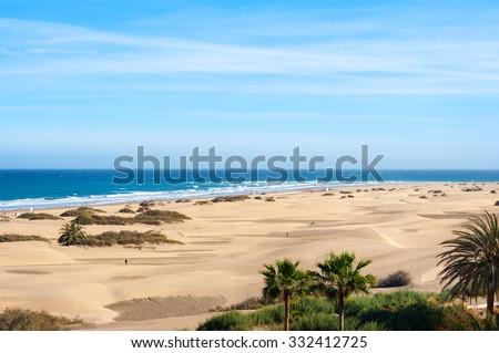 Coastline with sand dunes of Maspalomas. Gran Canaria, Canary Islands - stock photo