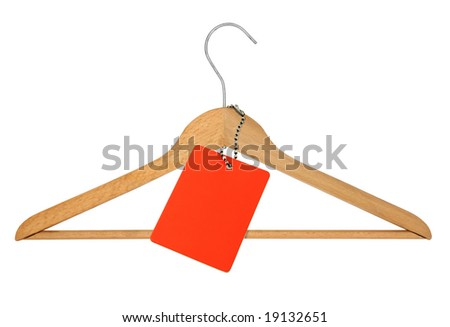 coat hanger and blank price tag on white - stock photo