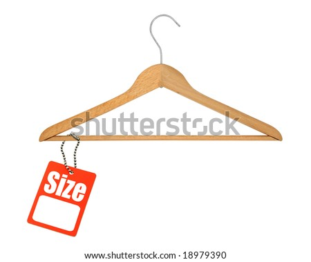 coat hanger and blank size tag on white - stock photo