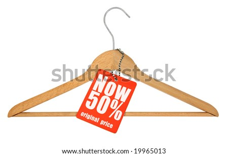 coat hanger and price tag isolated on white - stock photo