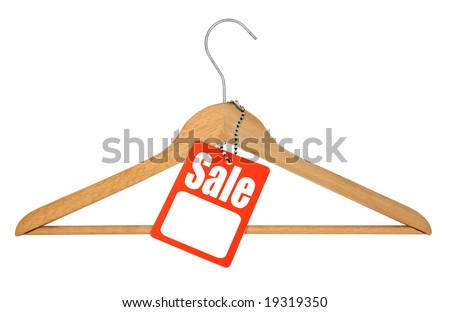 coat hanger and sale tag on white background - stock photo