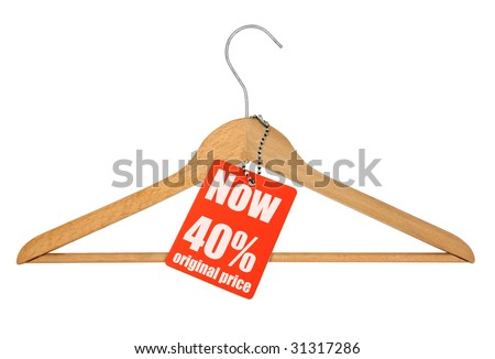 coat hanger and sale tag on white,  photo does not infringe any copyright - stock photo