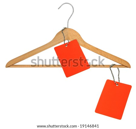 coat hanger and two blank price tags on white - stock photo