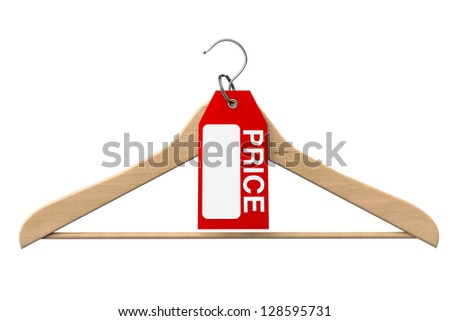 Coat Hanger with Price Tag on a white background - stock photo