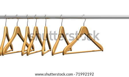Coat hangers on clothes rail - stock photo