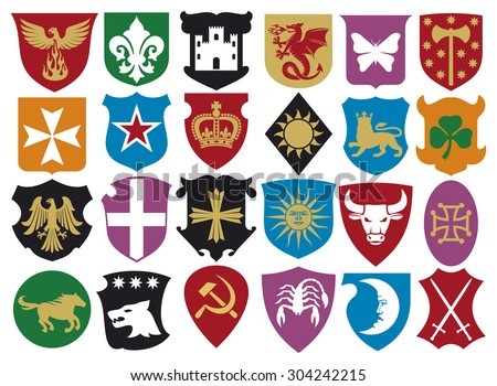 coat of arms collection (heraldic design elements) - stock photo