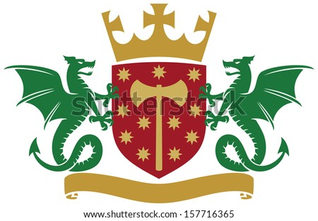 coat of arms - dragons, shield, crown and banner - stock photo