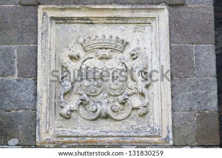 Coat of arms in Castle de Nacqueville (Chateau de Nacqueville), Normandy, France - stock photo