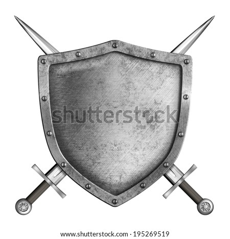 coat of arms medieval metal knight shield with crossed swords isolated on white - stock photo