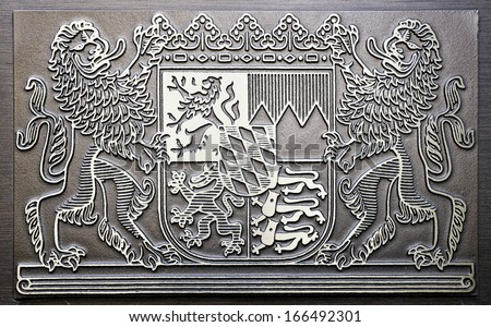 coat of arms of bavaria - germany - stock photo
