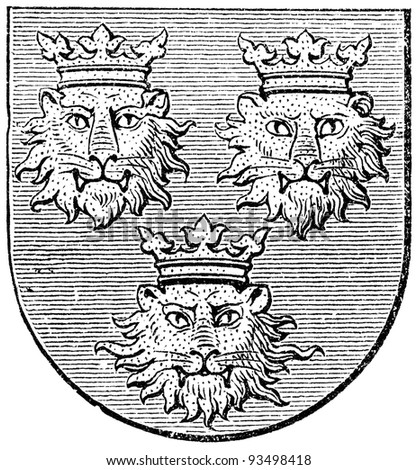 "Coat of arms of Dalmatia, (Austro-Hungarian Monarchy). Publication of the book ""Meyers Konversations-Lexikon"", Volume 7, Leipzig, Germany, 1910 - stock photo"