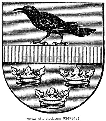 """Coat of arms of Galicia, (Austro-Hungarian Monarchy). Publication of the book """"Meyers Konversations-Lexikon"""", Volume 7, Leipzig, Germany, 1910 - stock photo"""