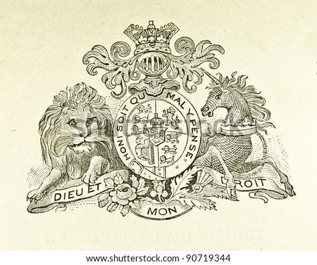 "Coat of arms of Great Britain and Ireland. Illustration by Alwin Zschiesche, published on ""Illustrierts Briefmarken Album"", Leipzig, 1885. - stock photo"