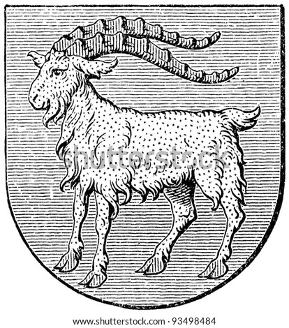 "Coat of arms of Istria, (Austro-Hungarian Monarchy). Publication of the book ""Meyers Konversations-Lexikon"", Volume 7, Leipzig, Germany, 1910 - stock photo"