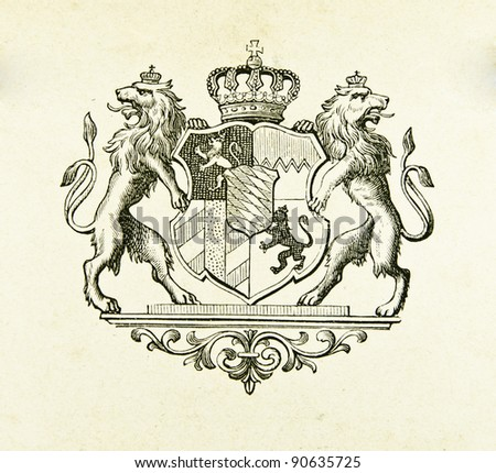 "Coat of arms of kingdom of Bavaria. Illustration by Alwin Zschiesche, published on ""Illustrierts Briefmarken Album"", Leipzig, 1885."