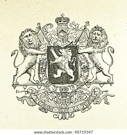 "Coat of arms of Kingdom of Belgium. Illustration by Alwin Zschiesche, published on ""Illustrierts Briefmarken Album"", Leipzig, 1885. - stock photo"