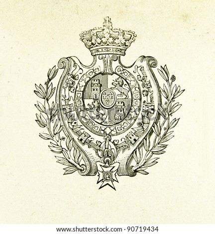 "Coat of arms of Kingdom of Spain. Illustration by Alwin Zschiesche, published on ""Illustrierts Briefmarken Album"", Leipzig, 1885. - stock photo"