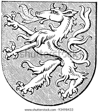 """Coat of arms of Styria, (Austro-Hungarian Monarchy). Publication of the book """"Meyers Konversations-Lexikon"""", Volume 7, Leipzig, Germany, 1910 - stock photo"""