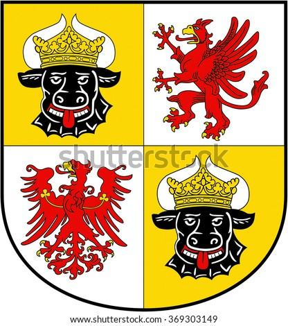 Coat of arms of the German federal state Mecklenburg-Western Pomerania.