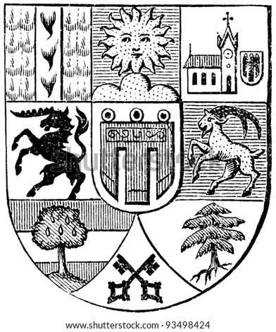 "Coat of arms of Vorarlberg, (Austro-Hungarian Monarchy). Publication of the book ""Meyers Konversations-Lexikon"", Volume 7, Leipzig, Germany, 1910 - stock photo"