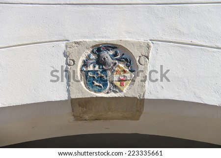 Coat of arms on the wall of a building in Dordrecht. Netherlands - stock photo
