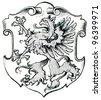 "Coat of Arms Pomerania, (Province of Kingdom of Prussia). Publication of the book ""Meyers Konversations-Lexikon"", Volume 7, Leipzig, Germany, 1910 - stock photo"