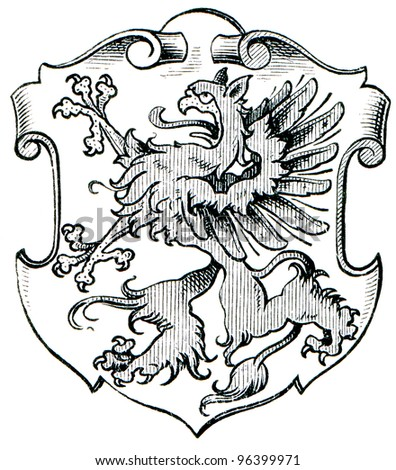 "Coat of Arms Pomerania, (Province of Kingdom of Prussia). Publication of the book ""Meyers Konversations-Lexikon"", Volume 7, Leipzig, Germany, 1910 - stock photo"
