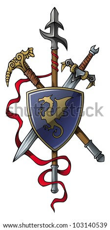 Coat of arms: spear, sword, hammer and shield, raster from vector illustration - stock photo