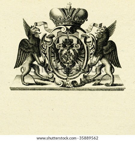 coat of arms with griffins on old paper background - stock photo
