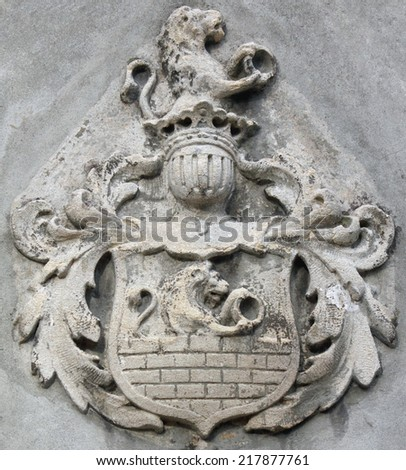 Coat of arms with lions as a symbol of courage and valor - stock photo