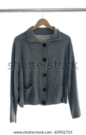 coat on hangers at the show - stock photo
