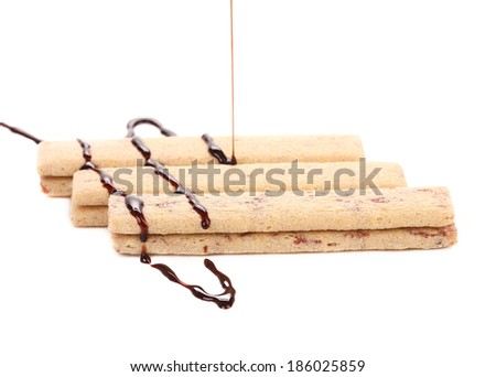 Coated cookie of chocolate. Isolated on a white background. - stock photo