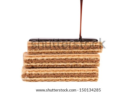 Coated stake wafers of chocolate. - stock photo