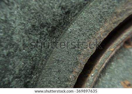 Coating texture of corrosion that is formed over flat metal or iron plate, macro shoot - stock photo